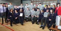 At the awards and graduation ceremony were, front from left: Kayla O'Connor, Kerrie O'Sullivan, Fia Lawless, Shane McEnery, Darragh Brosnan, Eoghan Leahy, Elaine O' Donoghue, Óisín Collins and Laura Fitzmaurice. Back row: Tim Long, T.Y. Coordinator St. Patricks; Andrea O'Connor, Garry O'Sullivan, Leanne Sugrue, Jessica O'Leary, Luke Walsh, Darren O'Donovan, Darragh Bourke, Nell Nolan, Michael Daly, Emma O'Regan, Millie Luck, Ciara Fitzgerald, Annette Leen, T.Y. Coordinator, Presentation.