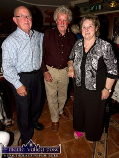 Brendan Cotter (left) pictured with Jack and Cáit Curtin at the Mein National School Reunion at Ó Riada's Bar and Restaurant, Ballymacelligott. ©Photograph: John Reidy