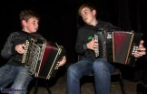 Michael Healy from Kilcummin (left) and Kealan O'Connor, Beaufort playing the final tunes at the Handed Down special tribute to Peter Browne in Scartaglin on Saturday night. ©Photograph: John Reidy