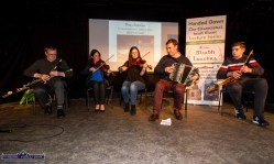Peter Browne, Noeleen O'Donnell, Aoife Ní Chaoimh, Paudie O'Connor and Ciarán Browne playing at the Handed Down special tribute to Peter Browne in Scartaglin on Saturday night. ©Photograph: John Reidy