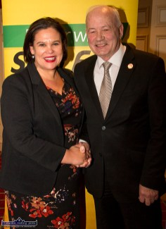 Sinn Féin President, Mary Lou McDonald, TD being welcomed to the River Island Hotel in Castleisland by Manager Willie Buckley at the Rural Revival Conference at the hotel on Saturday night. ©Photograph: John Reidy