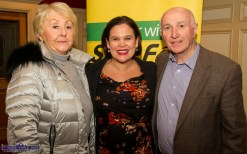 Angela and John Browne from Abbeyfeale pictured with Sinn Féin President Mary Lou McDonald at the Rural Revival Conference at the River Island Hotel in Castleisland on Saturday night. ©Photograph: John Reidy