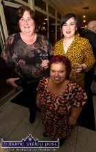 June McCarthy (front) with Catherine and Alison McGaley at the Starving Artists / Island Sessions exhibition in Castleisland on Saturday night. ©Photograph: John Reidy