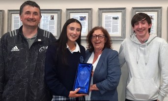 The Butler family with Overall Transition Year Student of the Year, Lauren Butler.