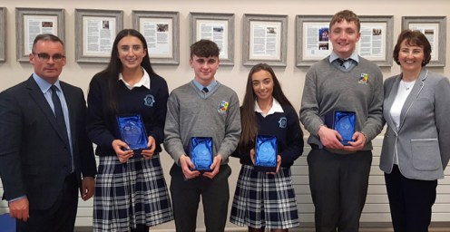 Principal of St. Patrick's Denis O'Donovan with Student of the Year, Lauren Butler and Diligence and Contribution to Transition Year recipients, Jason Brennan and Alanna Glennon and Spirit of TY Award recipient, Dara Culhane, Principal of Presentation Secondary School Katherina Broderick.