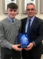 Diligence and Contribution to Transition Year Award recipient Jason Brennan pictured with Principal Denis O'Donovan.