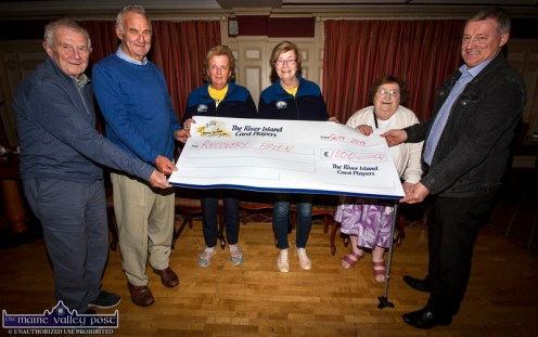 River Island Hotel Card Players presenting a cheque for €1,000 to Recovery Haven representatives Marian Barnes and Maureen O'Brien at the hotel on Sunday night. Included are: Tom Brennan (left) with: Timmy Brosnan, Ms. Barnes and Ms. O'Brien, Hannah Hickey and Jerry Horan. ©Photograph: John Reidy
