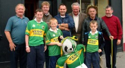 Me and my Teddy Bear: A gang of supporters pictured in front of Skevenas Bar on Castleisland's Main Street before the 2004 final. Included are, from left: James Howard, John Mannix, Ted Kenny, Jerry Mannix, Martin Nolan, Willie Nagle, Bernard Nolan, David Prendiville and Denis Broderick. ©Photograph: John Reidy 26-9-2004