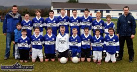 The Templenoe U-14 football team and mentors which defeated Castleisland Desmonds in the opening round of the Coiste Na nÓg U-14 Division 2 County League game in Castleisland March 2006. Front from left: Patrick Moriarty, Tadhg Morley, John Moriarty, Colm Breen, Keith Clifford, Daniel O'Neill, Sean Moriarty, John Spillane. Back from left: Tom and Conor Spillane, Niall O'Sullivan, Tom Spillane, David Sheehan, Kieran O'Neill, John Morley, Martin Reilly, Teddy Doyle, Adrian Spillane and John Spillane, Coach. ©Photograph: John Reidy 25-3-2006