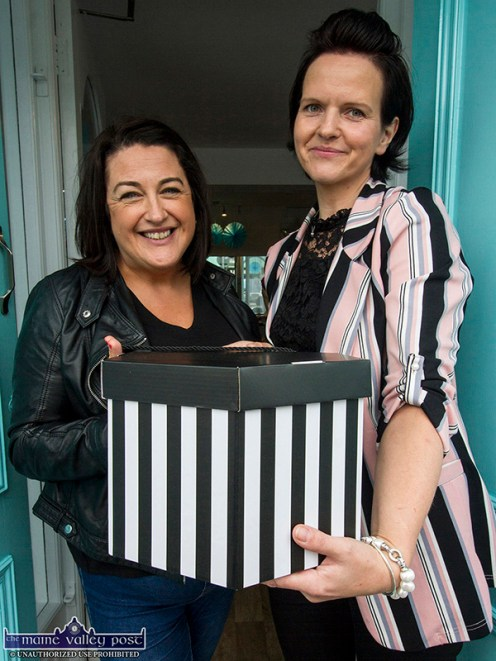Killarney native, Sydney, Australia resident, Vivienne Gleeson-McGuire became the first customer at Reel Designs, Castleisland. Ms. McGuire is pictured here with founder/proprietor, Reelika Ollo. ©Photograph: John Reidy