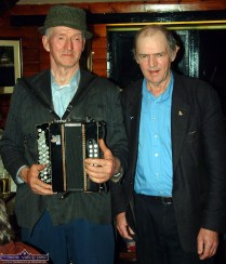 The late Jackie Dan Jerry O'Connor, Castleisland and the late Dessie O'Halloran in Day's bar on Inishbofin. Photograph: John Reidy 6-6-2003