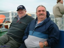 On the ferry from Cleggan to Inishbofin: The late Seán Brennan and Con 'Rocky' Roche. Photograph: John Reidy 6-6-2003