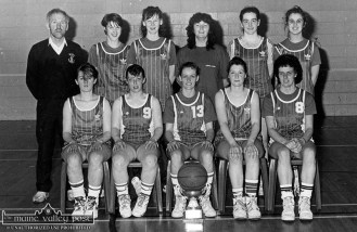 The St. Mary's Senior Ladies Basketball team from1991 after they had secured the County League and Championship double for the 1990/'91 season. Front from left: Caroline Sugrue, Julie Ann Broderick, Maria O'Connor, captain; Noreen Walmsley and Maura Moloney. Back row: Donal 'Duke' O'Connor, coach; Joanne Walmsley, Sandra Hartnett, Eileen O'Donoghue, Breda McGaley and Tina Brennan. ©Photograph: John Reidy 27-2-1991