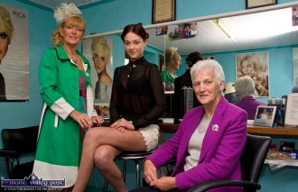 Nora Drumm (left) preparing for the September 2012 'Castleisland Capital of Fashion Show' with clients: Aisling O'Connell, model and Monica Prendiville, former national president of the Irish Country-Women's Association. ©Photograph: John Reidy 19-9-2012