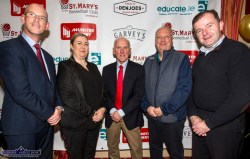 At the Golden Jubilee launch of St. Mary's Basketball Club's Christmas Blitz in Castleisland on Friday night were: Kerry County Council's Director of Services, John Breen (left) pictured with: Angela Ring-O'Donoghue, Munster Joinery: Blitz founder, Donal 'Duke' O'Connor, Gerard Murphy, Vincent Murphy Sports and Cllr. Fionnán Fitzgerald. ©Photograph: john Reidy