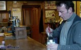 The late Timmy Murphy in a still from a film clip putting the finishing touches to the pitch pine counter at Sheila Prendiville's Bar and Grocery during the clean-up there in March 2011.©Photograph: John Reidy 2-3-2011.