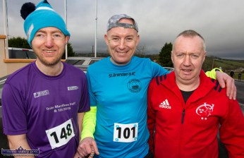 Ross Gallagher, Scartaglin (left) with Declan Sheehan, Causeway and Donie O'Sullivan, Auglish waiting for the start of the Kerrie Browne 5K memorial run / walk in Brosna on Sunday morning. ©Photograph: John Reidy