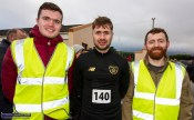 Local participants from left: Patrick Moriarty, Adam Barry and Séamus O'Connor at the start of the Kerrie Browne 5K memorial run / walk in Brosna on Sunday morning. ©Photograph: John Reidy