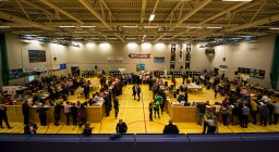 Early scene setting at the Kerry constituency count at Killarney Sports and Leisure Centre on Sunday morning. ©Photograph: John Reidy