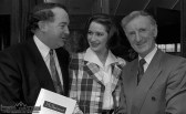 Ireland's Eurovision entrant, Niamh Kavanagh pictured with Killarney UDC Chairman Paul Coghlan (left) and Green Glens Arena proprietor, Noel C. Duggan at press briefing in the Green Glens Arena in Millstreet. ©Photograph: John Reidy 31-3-1993