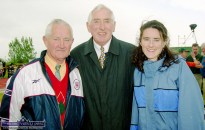 Ireland's 1956 Olympic Gold Medal hero, Ronnie Delaney with An Ríocht AC Supporters' Club organiser, Denis Brosnan and his daughter Ailis Brosnan at the official opening of An Riocht Athletic Club's facilities in Castleisland. ©Photograph: John Reidy 11-6-2000