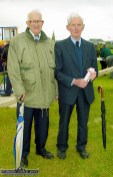 Kerry athletics stalwarts, Tadgh Crowley, Farranfore (left) and Tim Kerrisk, Castleisland pictured at the official opening of An Ríocht AC track in June 2000. ©Photograph: John Reidy 11-6-2000