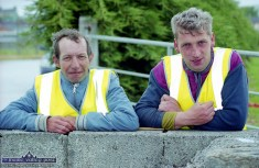 Paudie McGlynn, Castleisland (left) and Ned Casey, Brosna were among the team of volunteers on duty at the official opening of An Ríocht Athletic Club facilities in June 2000. ©Photograph: John Reidy