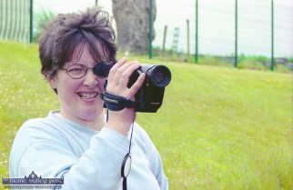Mary Cotter filming the goings on at the official opening of An Riocht Athletic Club's facilities in Castleisland. ©Photograph: John Reidy 11-6-2000