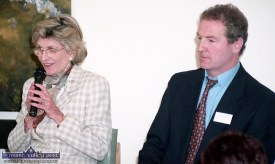 US Ambassador to Ireland, Jean Kennedy Smith with Brosna native and Town of Tralee VEC Chairman, Billy Downes when she addressed a Youth in Action Week gathering at Siamsa Tíre in 1997. ©Photograph: John Reidy 11-4-1997