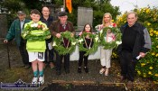 Representatives of the Flynn, Prendiville and Shanahan families laid wreaths at the monument on Rice's Height during the 1921 Castleisland Ambush Centenary commemorations on Saturday evening. Included are: John Mangan////. Aaron Shanahan-O'Mahony, Tommy O'Connor, event chairman; Dan Broderick, Noreen Prendiville, Cate Shanahan and Eamon Breen, organiser. ©Photograph: John Reidy