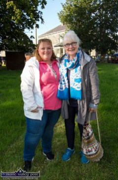 Paula Mulvihill (left) and Mag Carroll from Causeway supporting the Lixnaw based Memory Lane Theatre group in their production of Roadside the play by Noel Marian on the lawn of local presbytery in Lixnaw. ©Photograph: John Reidy 9-8-2021
