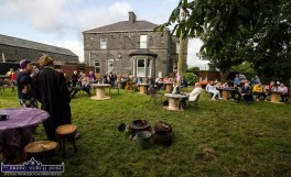 Memory Lane Theatre cast members, Siobhán Keane and Chris Fitzgerald in the opening scenes of the play Roadside and their audience on the grounds of the presbytery in Lixnaw. ©Photograph: John Reidy 9-8-2021