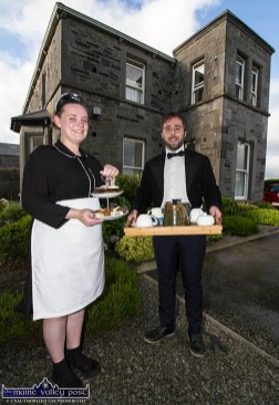 Time for Tea at the Big House: Memory Lane Theatre cast members Emily Keane and Ciarán Ó Murchú getting into character for their parts in Roadside - a play by Noel Marian staged on the grounds of Lixnaw Presbytery. ©Photograph: John Reidy 9-8-2021