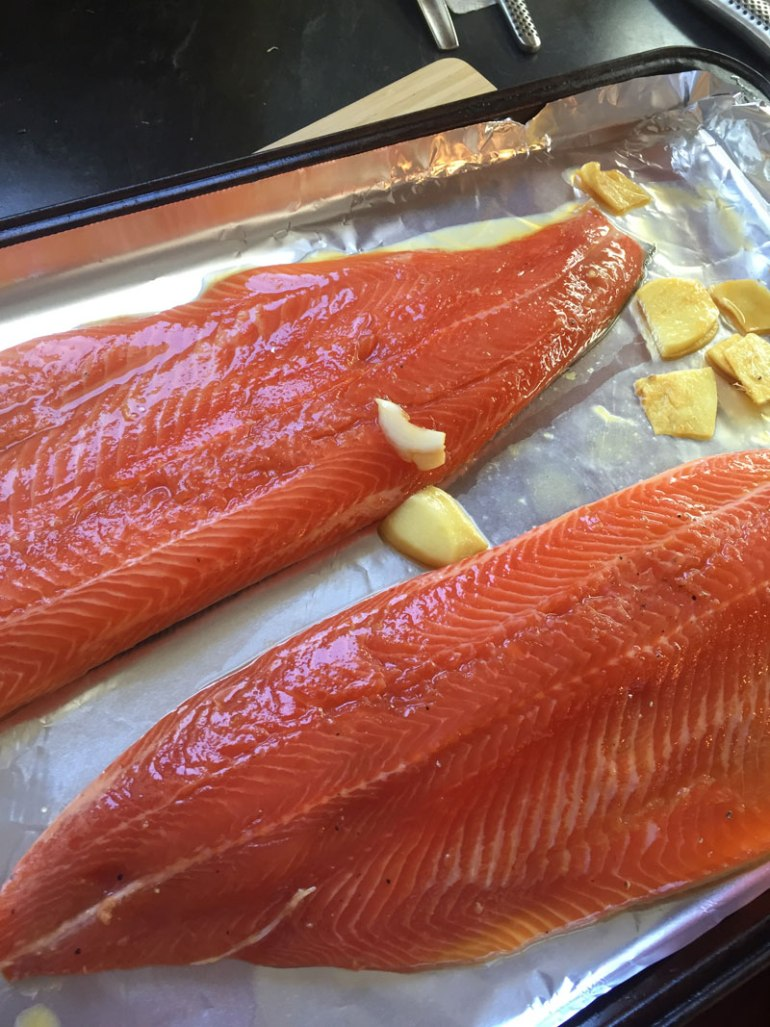 Marinated trout ready for the oven