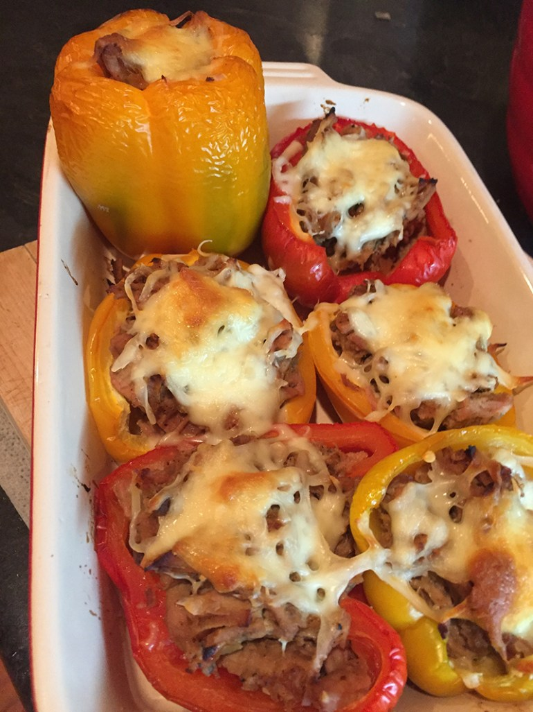 Pulled pork stuffed peppers