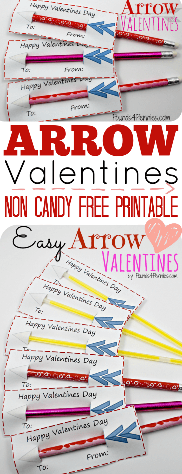 Non Candy Valentine Card Printable with Pencils. Pencil Valentines day card.