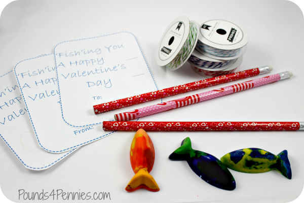 Supplies for melted crayon Fishy Valentines