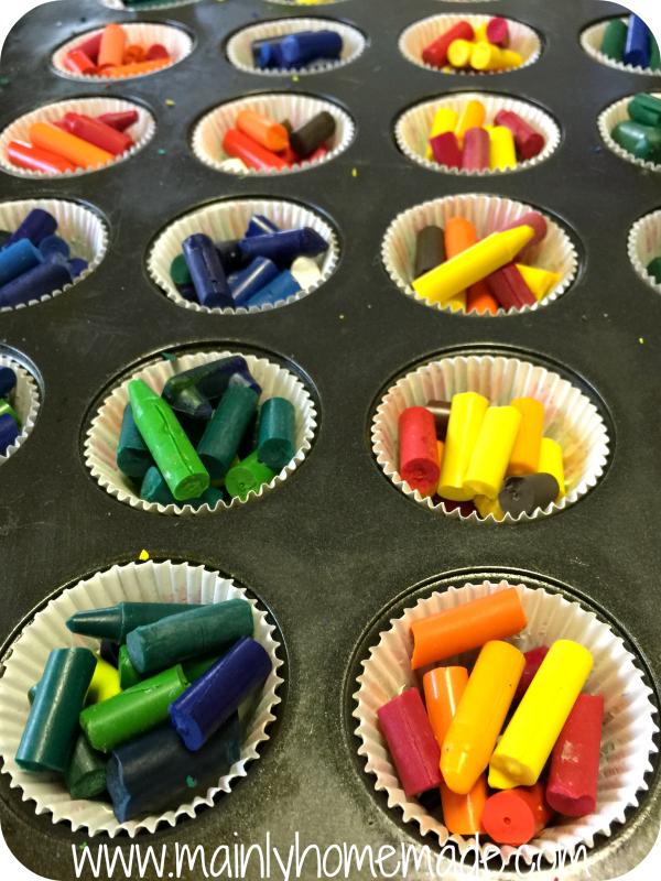 Broken Homemade Crayons in a muffin tin.