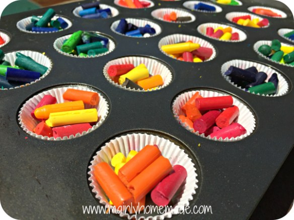 Homemade melted crayons in the sun