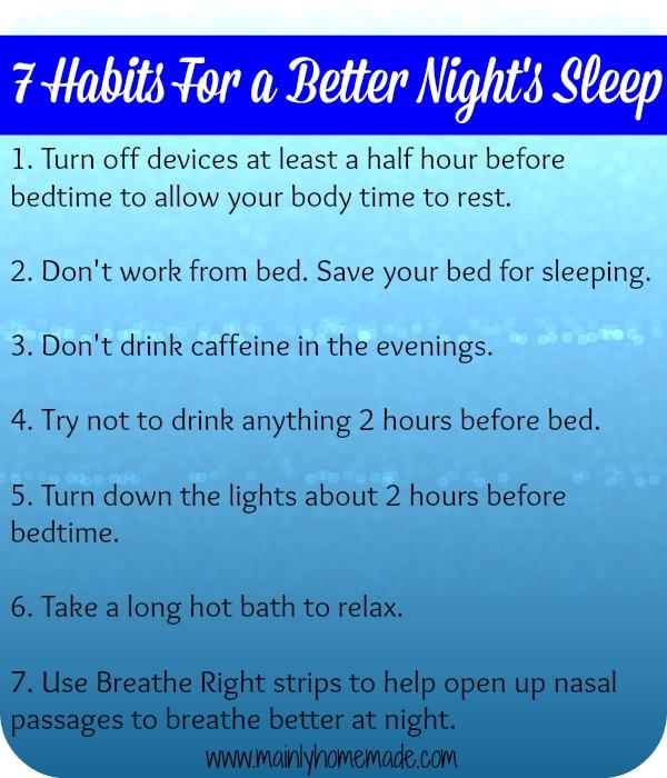 Habits for better nights sleep