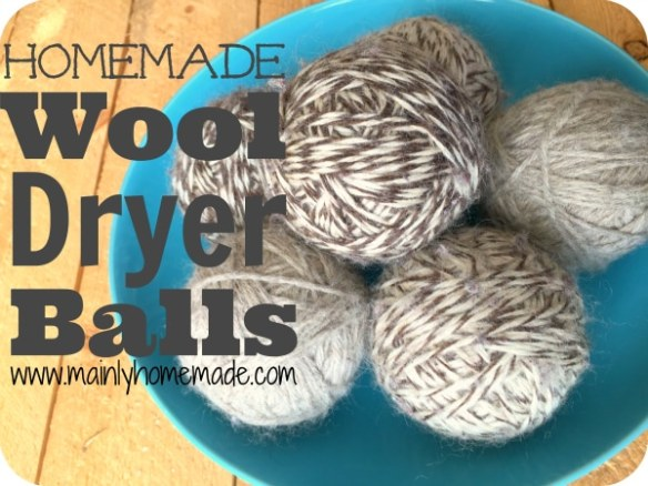 Homemade wool dryer balls in a bowl