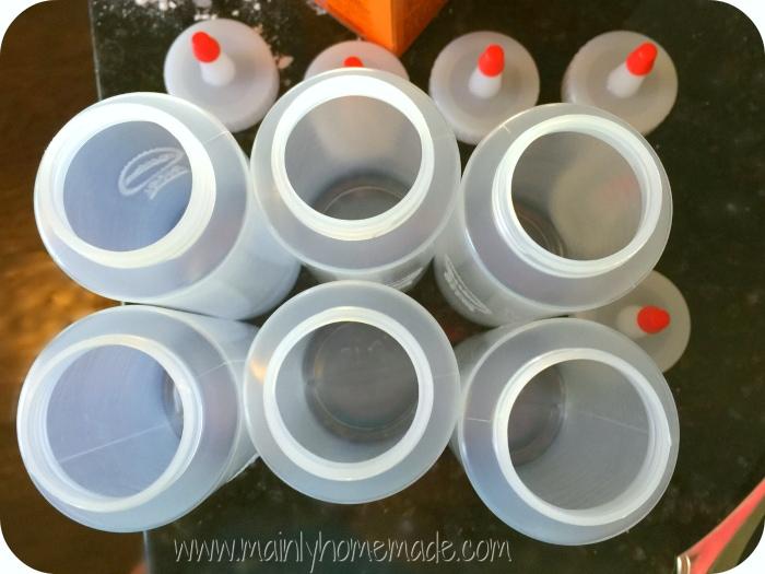 Squirt bottles for homemade sidewalk calk paint