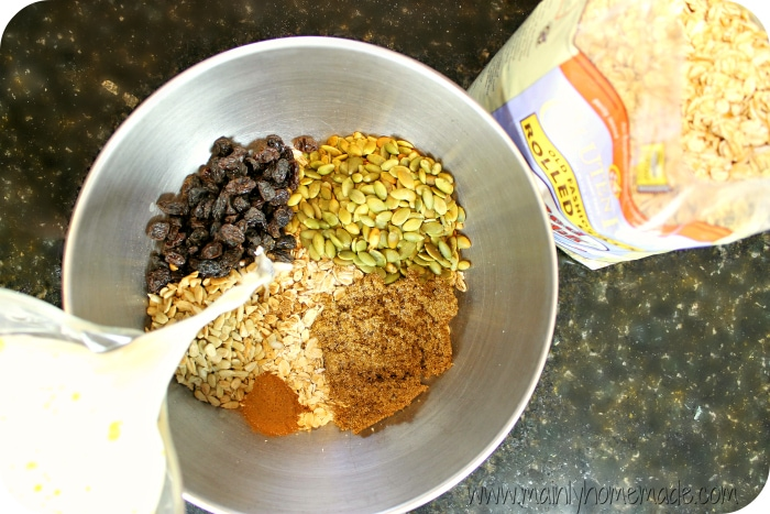 Pouring Gluten Free Oatmeal Bars