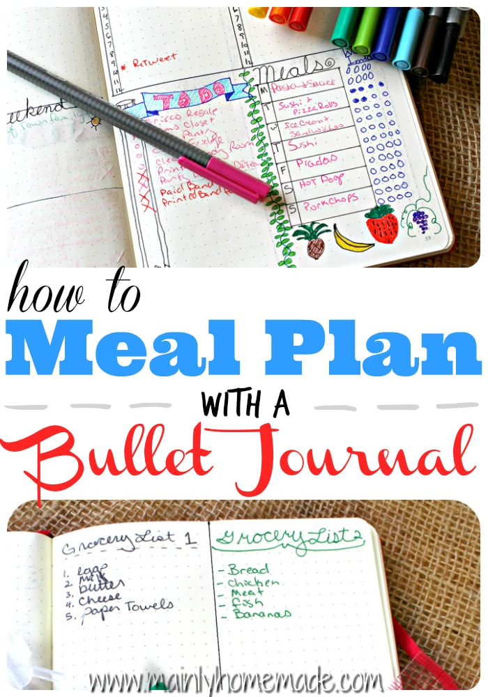 bullet journal meal plan