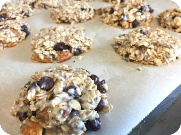 high protein breakfast cookies on a pan