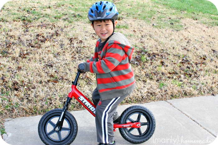 Learning to ride a bike Strider Bike Standing
