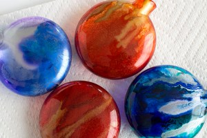 Alcohol ink Christmas ornaments set of four