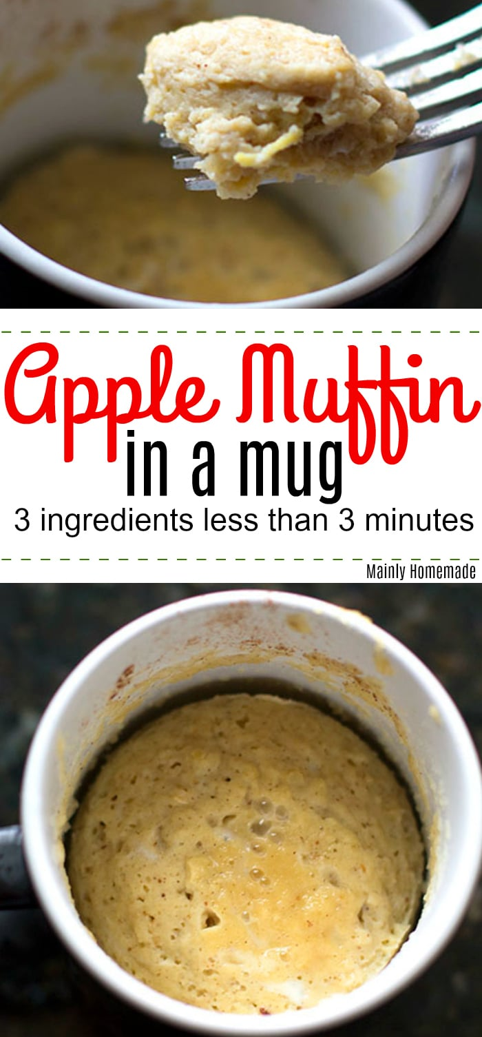 Apple Mug Muffin made using 3 ingredients and less than 3 minutes