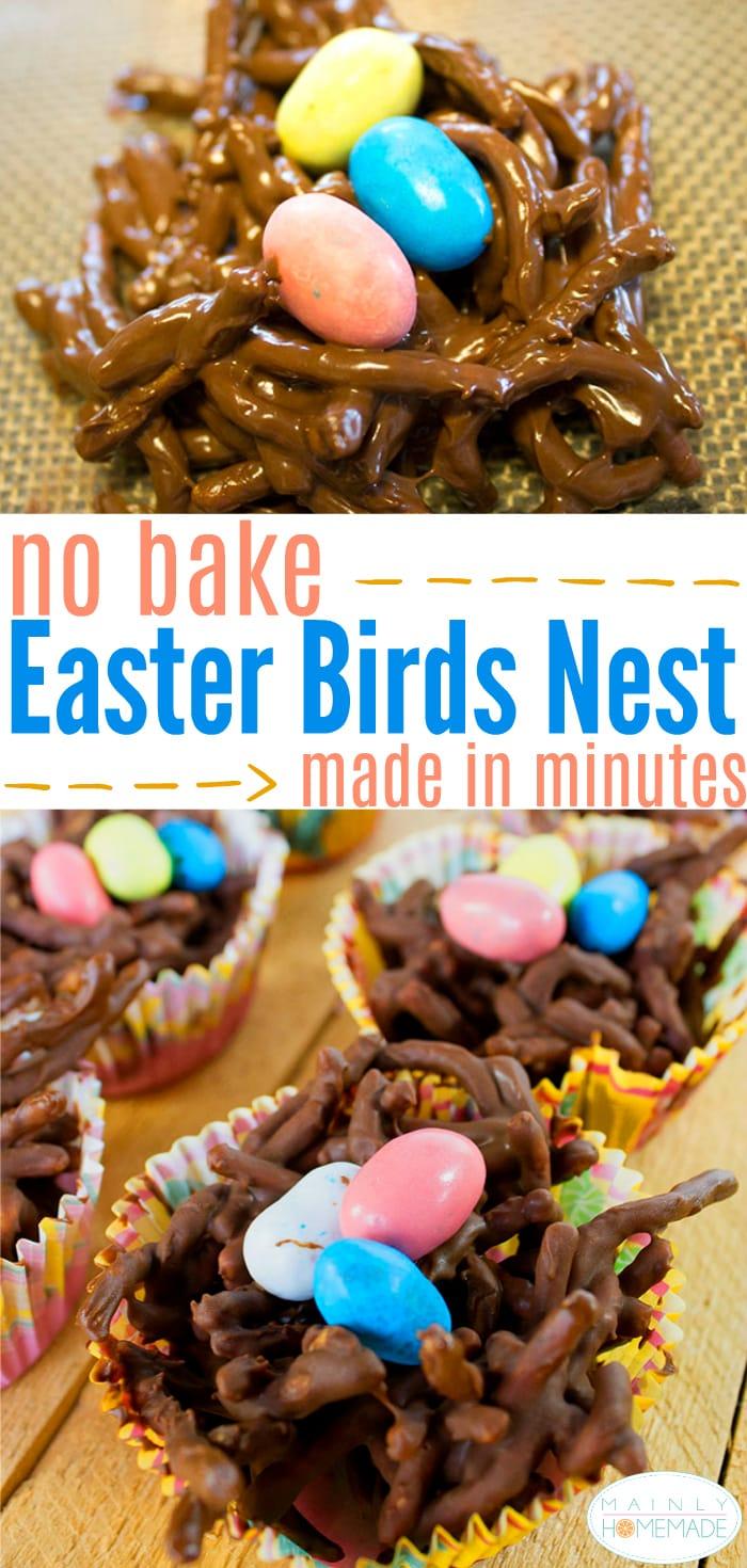 Easy no bake Easter birds nest recipe cookies