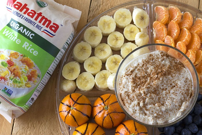 Rice pudding dip for fruit